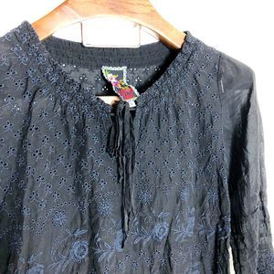 JOHNNY WAS BLACK LACE EMBROIDERED BLOUSE